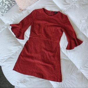 Topshop | Red Bell Sleeve Tweed Dress Size 6